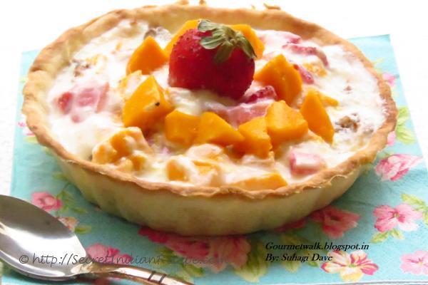 photo of mango strawberry parfait tart #mangorecipes