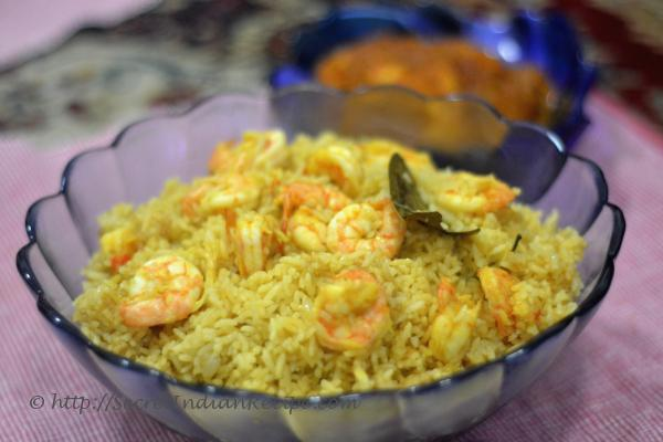 Picture of: Chingri pulao ( prawn pulao)