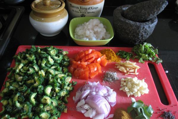 photo of Ingredients for Karela and Prawns