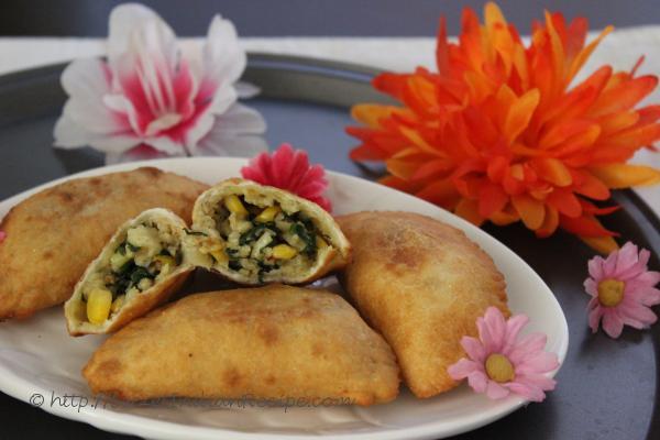 photo of spinach, corn and paneer karanji (gujiya)