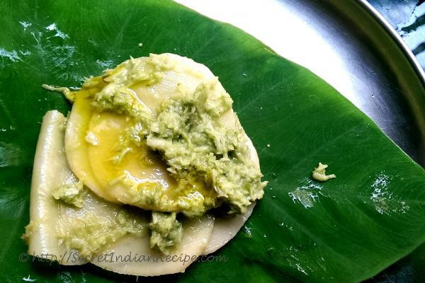 photo of patrani aloo wraps (steamed spicy potato in colcassia wraps)