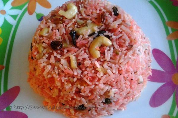 photo of rooh afza and coconut flavoured sweet pulav