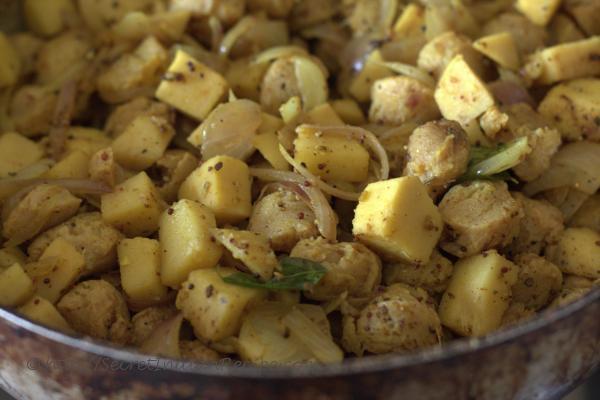 photo of soya kilanku poriyal cooking