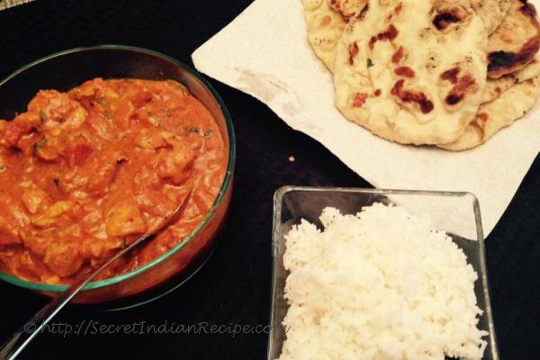 Tikka Masala, Garlic Naan, and Rice