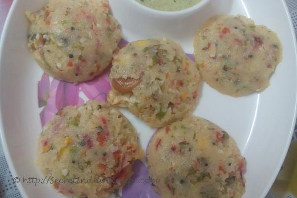 photo of vegetable rawa idli ( vegetable semolina idly)