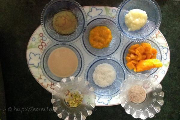 photo of ingredients used in making of ripe mango Malpua