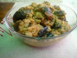 photo of bharli vangi (spicy stuffed aubergines /eggplant curry)