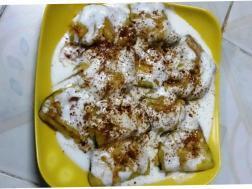 photo of baigan ki chaat (eggplant / brinjal chaat)