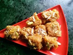 photo of besan and coconut barfi (gram flour and coconut fudge)