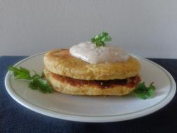 photo of Chickpea Pancakes with Sweet Spicy Yogurt Sauce