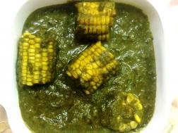 photo of taro / colcassia leaves and corn curry