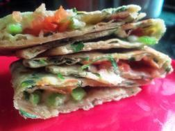 photo of meethi paratha with onion cheese and capsicum stuffing