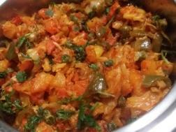 photo of cabbage, carrot and capsicum sabji