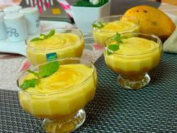 photo of saffron flavoured mango mousse(eggless)