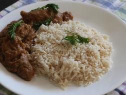 photo of chicken dhansak (chicken cooked with lentils and vegetables parsi style)
