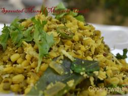 photo of sprouted and curried mung ( mugachi usal)