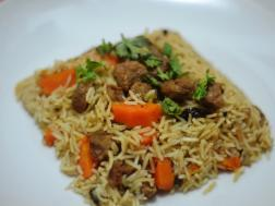 photo of soybean biryani (soybean in indian flavoured rice)