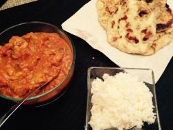 Tikka Masala, Garlic Naan, and Rice