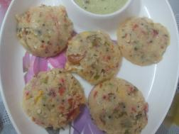 photo of vegetable rawa idli ( vegetable semolina idly)