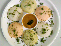photo of Three colours Idlis