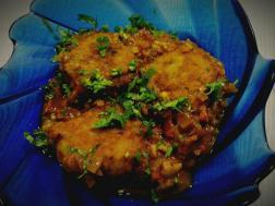 Picture of : Kache Kele ki sabzi (Raw banana patties cooked in mild spicy tomato gravy)